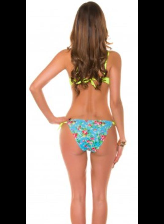 Bandeau bikini geel/bloemetjes