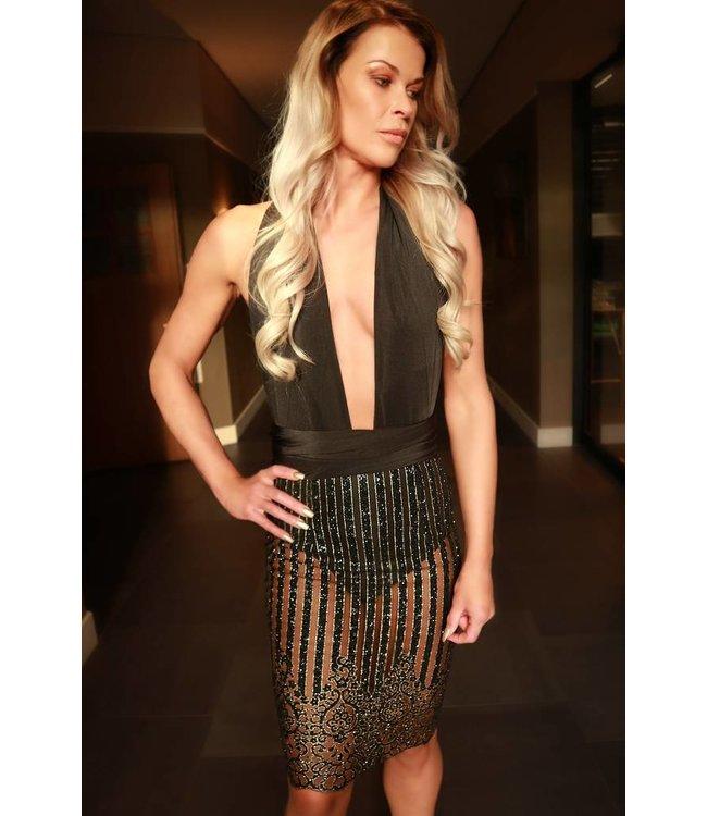 Wikkel jurk zwart/goud (multi draagbaar)