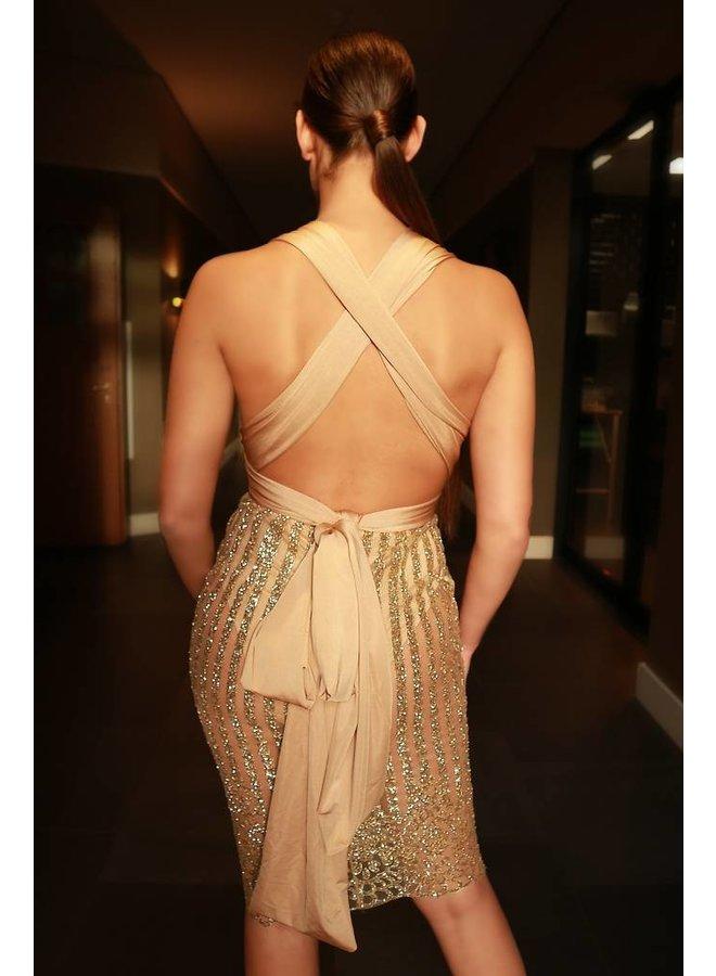 Wikkel jurk beige/goud (multi draagbaar)