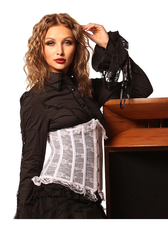 Wit underbust corset met motief (kant)