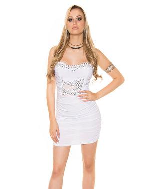 ClassyWear Mini-jurkje met steentjes in wit
