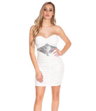 ClassyWear Mini-jurkje met gecentreerde steentjes(wit)