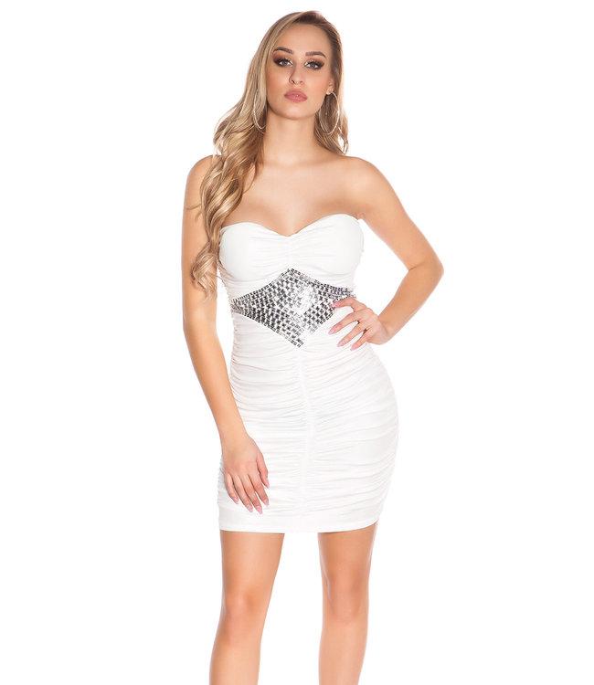 ClassyWear Mini-jurkje met gecentreerde steentjes