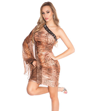 ClassyWear Eenarmig mini-jurkje met glittersteentjes