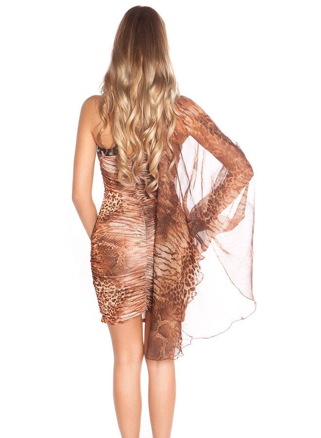 Eenarmig mini-jurkje met glittersteentjes