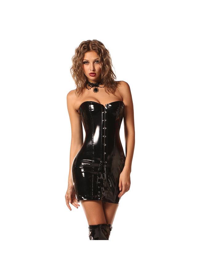 Zwarte lak look corset jurk