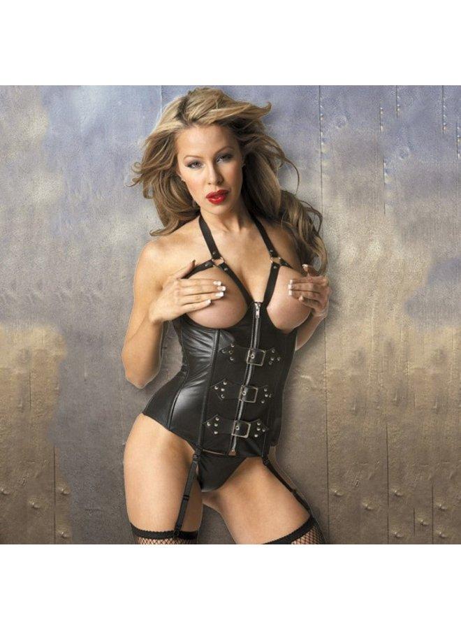 Overbust open cup leatherlook corset met studs