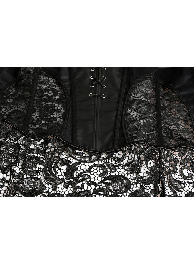 Overbust leatherlook corset met kanten peplum