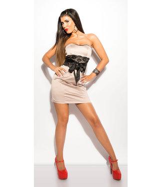 ClassyWear Sexy beige  bandeau mini-jurk