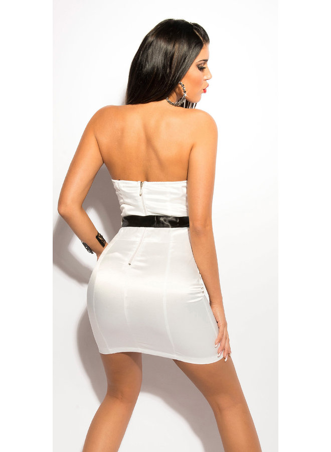 Sexy witte  bandeau minidress