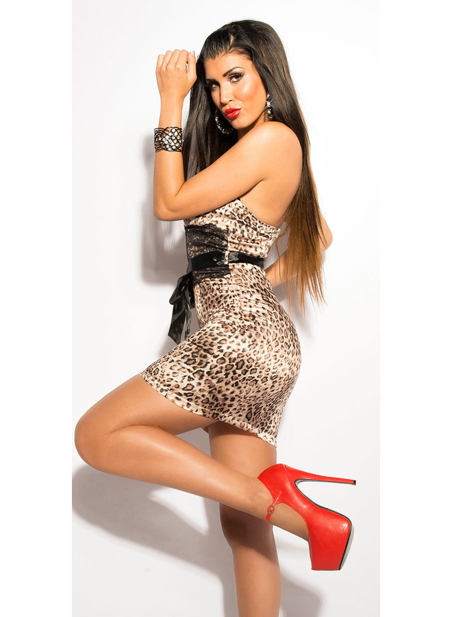 Sexy leopard bandeau minidress