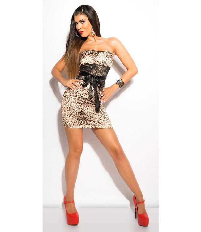 ClassyWear Sexy leopard  bandeau minidress