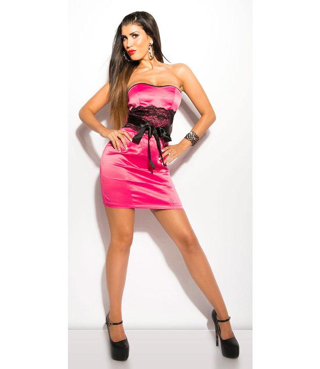 ClassyWear Sexy pink bandeau mini-jurk