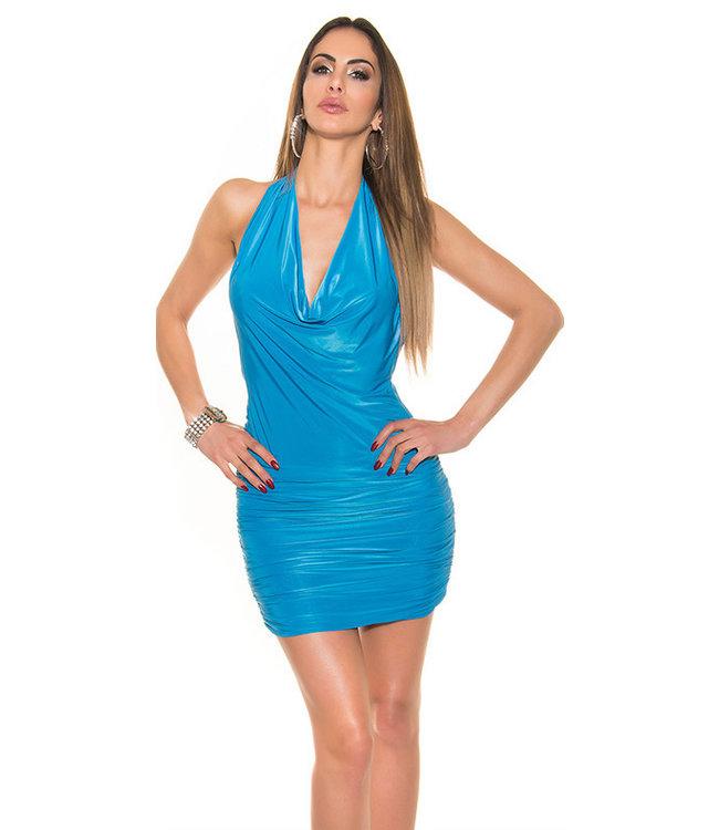 ClassyWear Blauw waterval mini jurkje