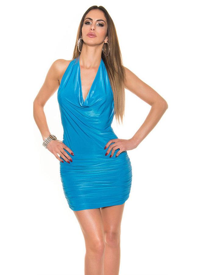Blauw waterval mini jurkje