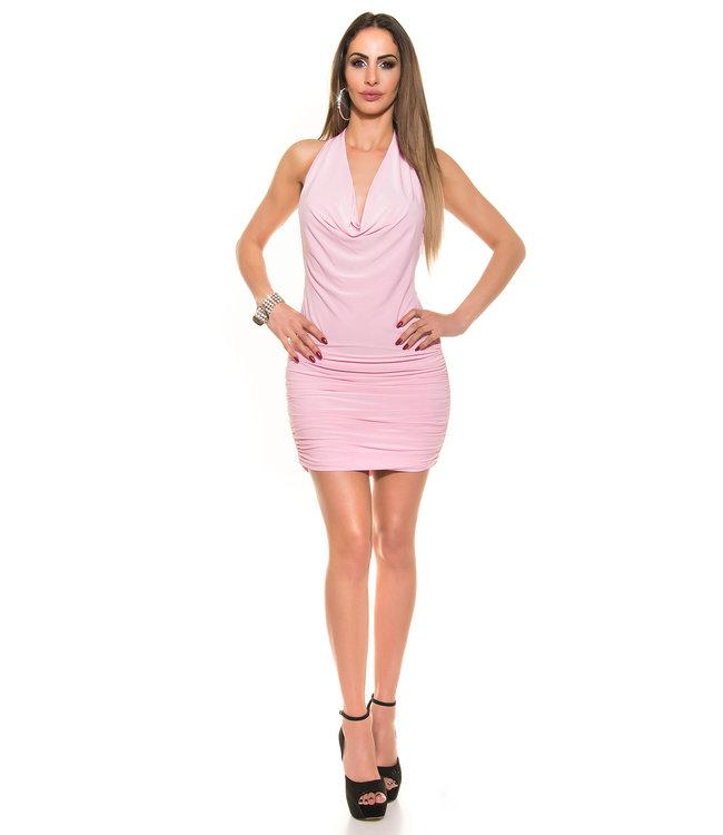 ClassyWear Roze waterval mini jurkje