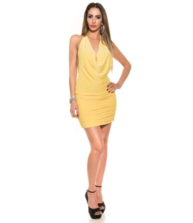 ClassyWear Geel waterval mini jurkje