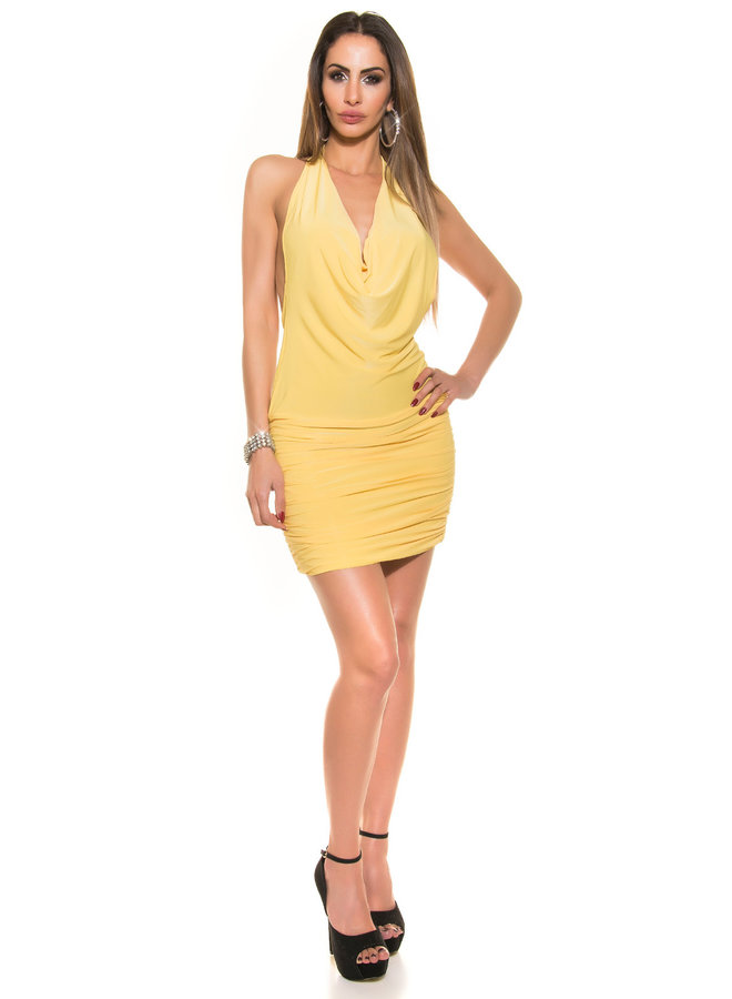 Geel waterval mini jurkje