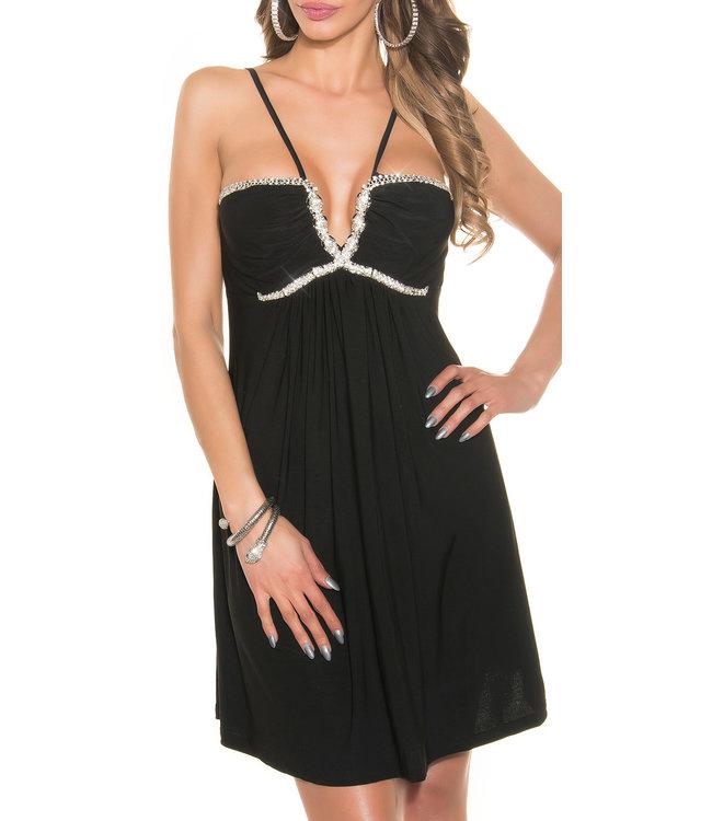 ClassyWear Zwarte babydoll jurk met slangdecoratie