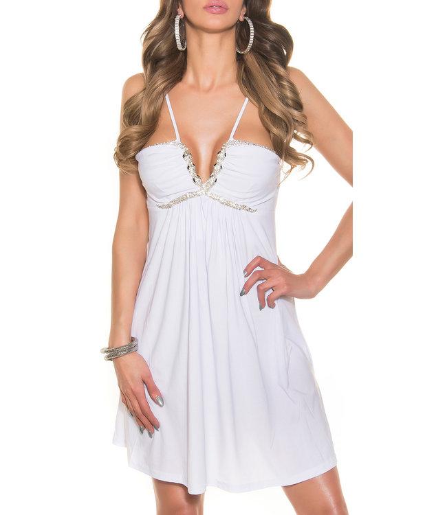 ClassyWear Wit babydoll jurk met slangdecoratie