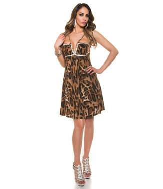 ClassyWear Babydoll jurk met slangdecoratie (panterprint)