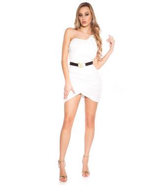 ClassyWear Witte minijurk met riem