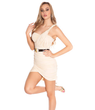 ClassyWear Sexy beige minijurk met riem
