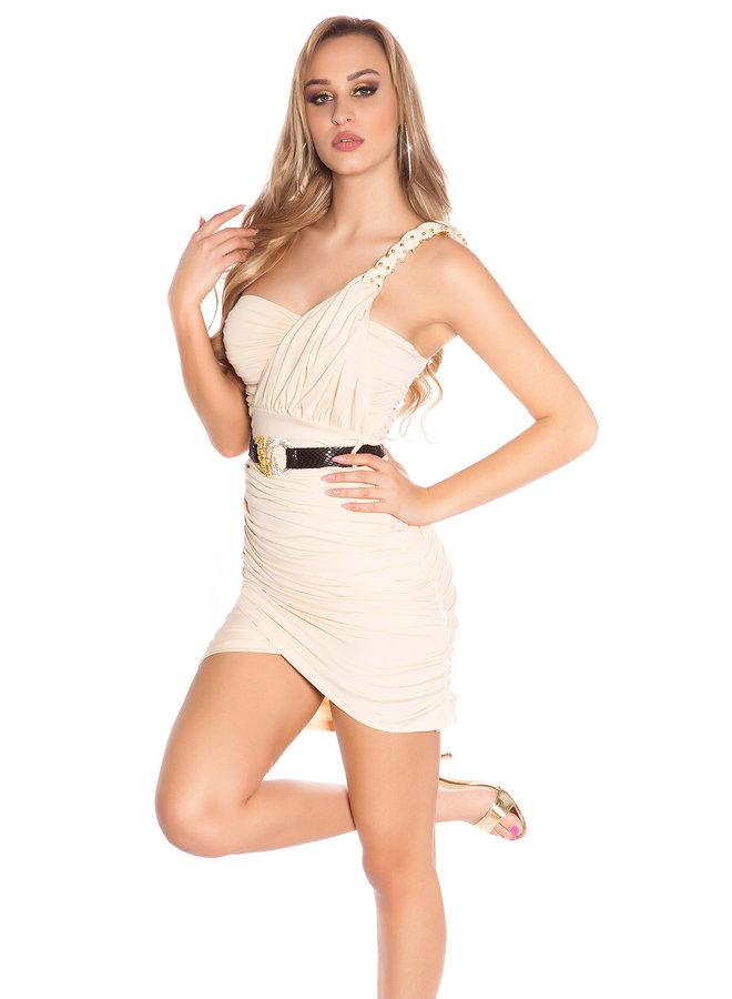 Sexy beige minijurk met riem