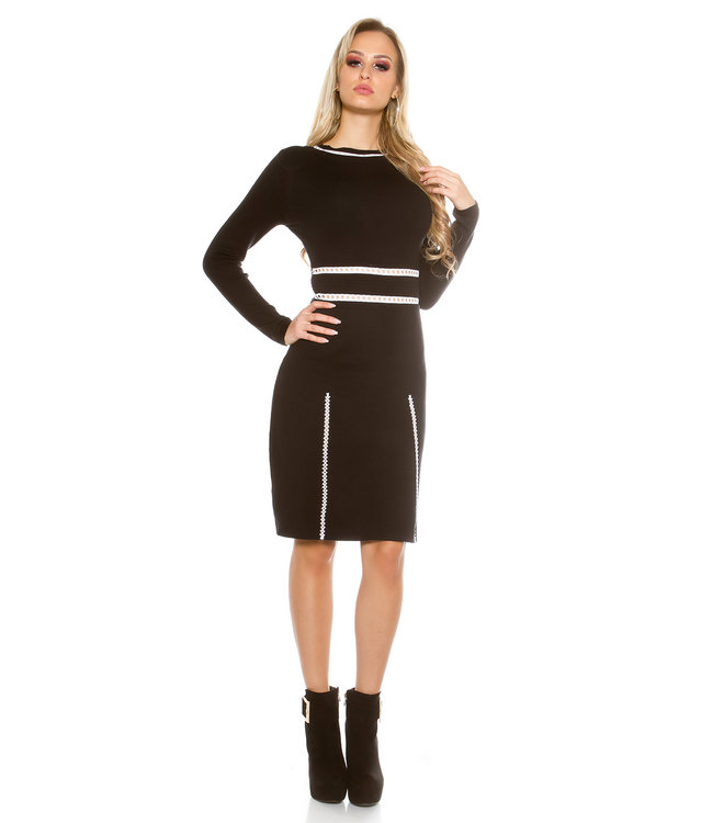 ClassyWear Zwarte elegante trui-jurk