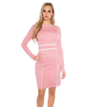 ClassyWear Oudroze elegante trui-jurk