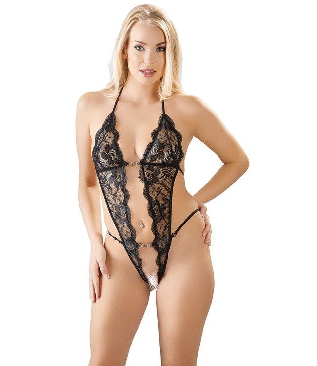 ClassyWear Sexy body met kant in zwart