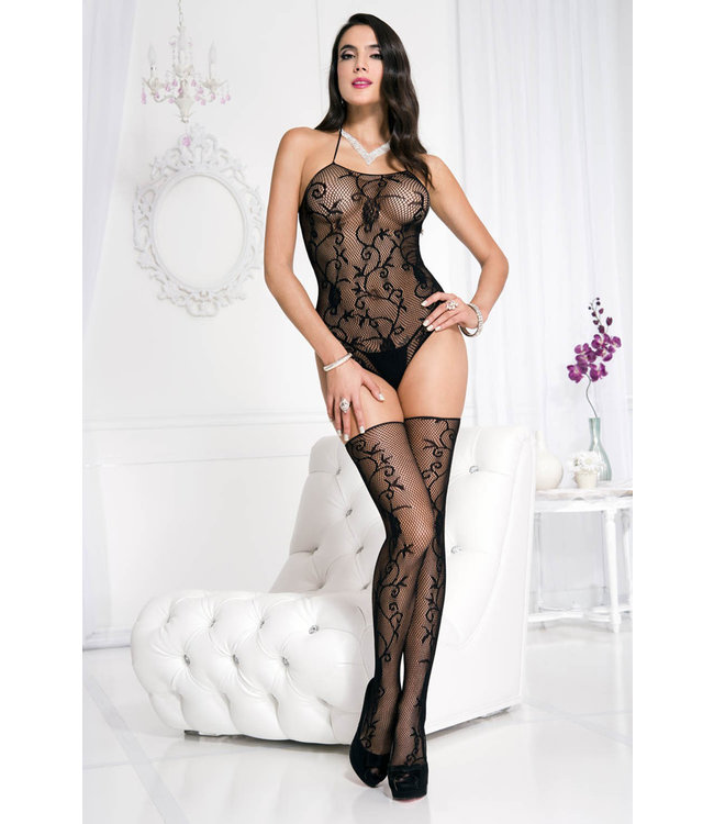 ClassyWear Sexy visnet body met kousen in zwart