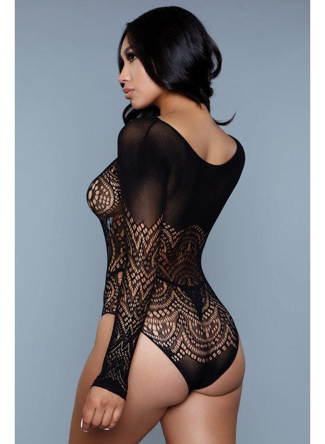 Sexy zwarte body transparant