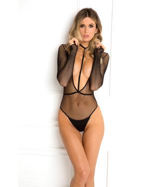 ClassyWear Zwarte  visnet bodysuit
