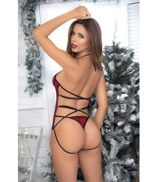 Mapalé Kanten kerst teddy in zwart/rood