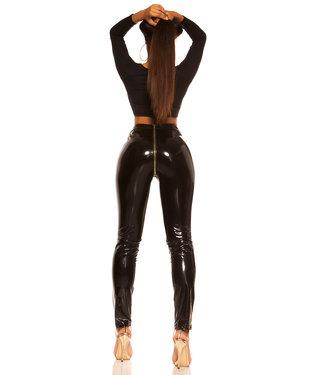 ClassyWear Zwarte lak broek met rits