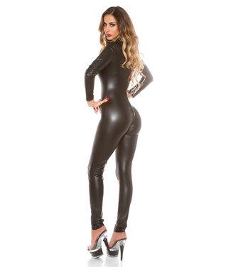 ClassyWear Sexy zwarte wetlook catsuit met rits