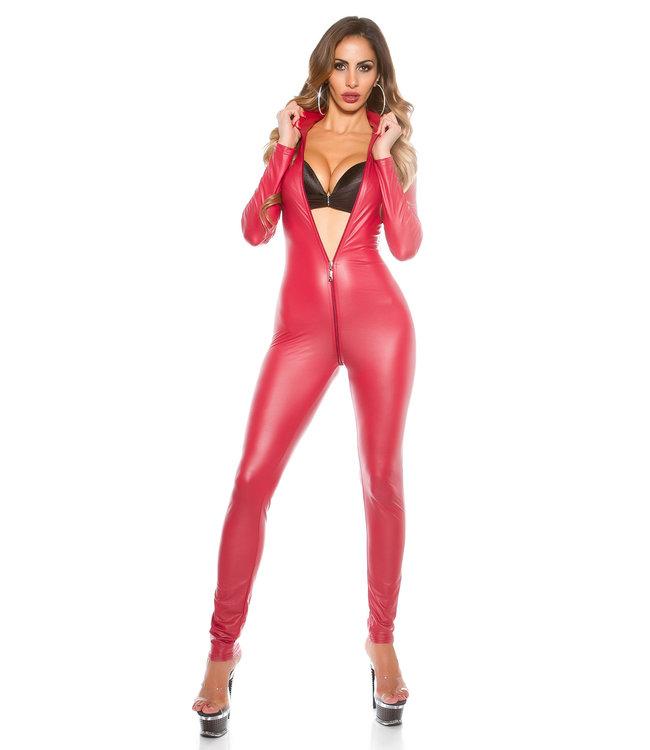 ClassyWear Sexy rode wetlook catsuit met rits