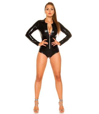 ClassyWear Sexy zwarte wetlook body met rits