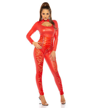 ClassyWear Sexy wetlook catsuit met kant in rood