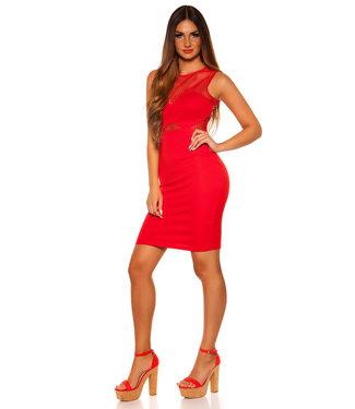ClassyWear Sexy rode jurk met visnet
