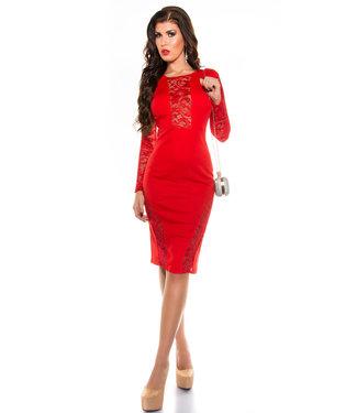 ClassyWear Kanten jurk in rood