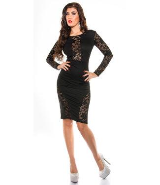 ClassyWear Kanten jurk in zwart
