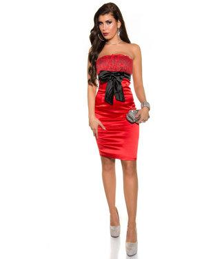 ClassyWear Sexy bandeau mini-jurk in rood/zwart