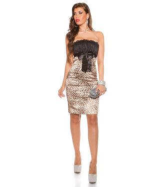 ClassyWear Sexy bandeau mini-jurk met panterprint