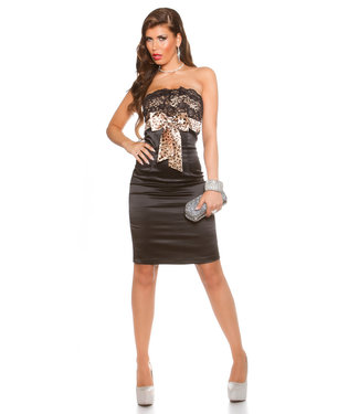 ClassyWear Sexy zwarte bandeau mini-jurk met strik