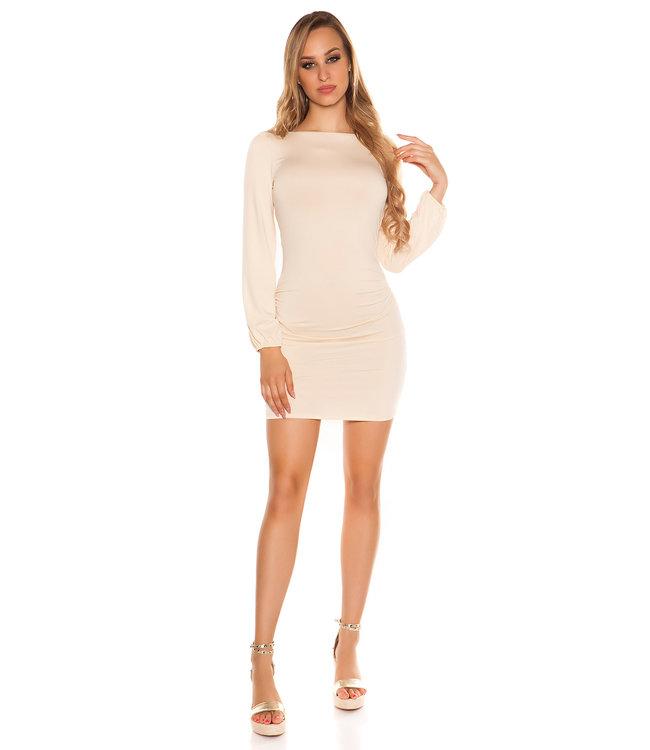 ClassyWear Sexy mini-jurk met open rug in beige