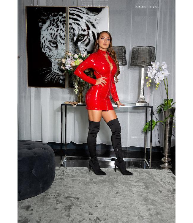 ClassyWear Sexy rood latex look jurkje met rits