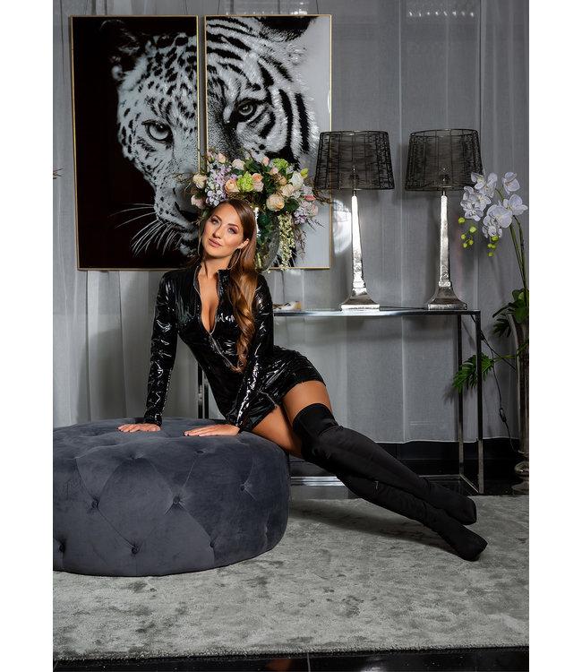 Sexy zwarte latex look jurkje met rits