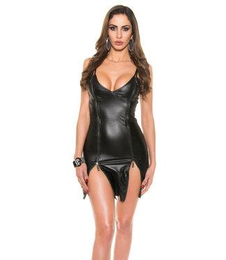 ClassyWear Sexy zwarte leatherlook mini-jurk met rits